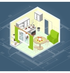 Kitchen Interior Isometric vector image