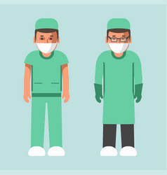 medical workers in uniform and masks isolated vector image vector image