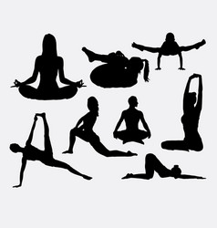 people yoga and acrobat sport silhouette vector image vector image