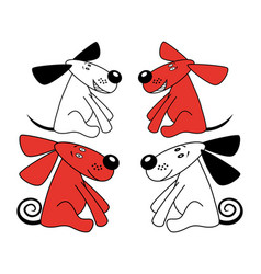 red and white amusing dogs vector image