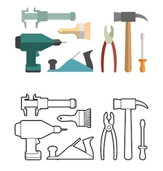 Set carpentry tools coloring book Screwdriver and vector image vector image