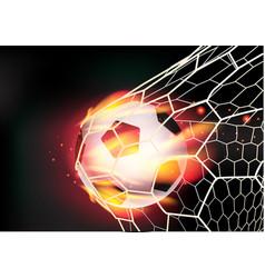 Soccer ball in goal net on fire flames vector image