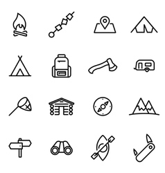 thin line icons - camping vector image vector image