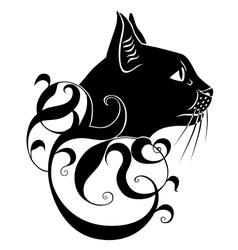 black cat decoration vector image vector image