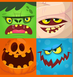 cartoon monster faces set vector image