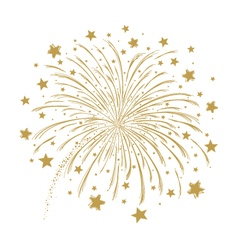 gold firework on white background vector image