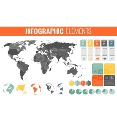 Infographic Elements Set World map markers vector image