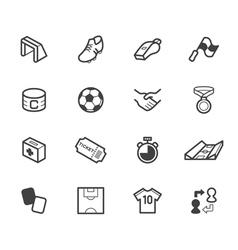 soccer black icon set on white background vector image vector image