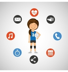 sport girl volleyball player graphic vector image
