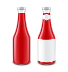 tomato ketchup bottle for branding with label vector image vector image