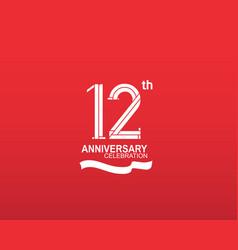 12 anniversary logotype flat design white color vector