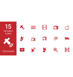 15 television icons vector image