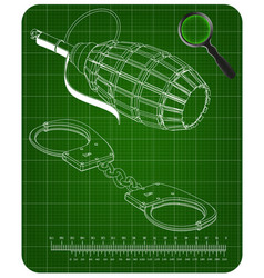 3d model of grenades and handcuffs on a green vector image