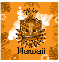 Aloha hawaii tribal mask leaves orange background vector