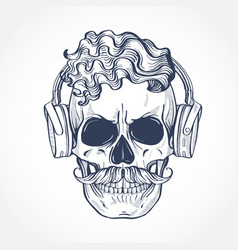 Angry skull with cirly hairstyle vector