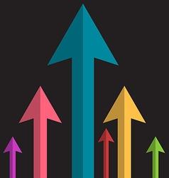 Arrows Upwards Paper Colorful Arrow Group on Dark vector