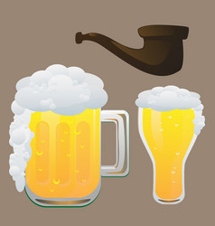 beer and smoking pipe vector image