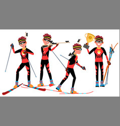 biathlon young man player man shooting vector image