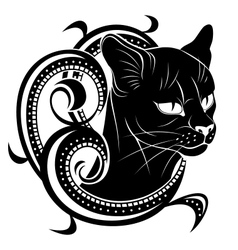 Black cat with floral decoration vector