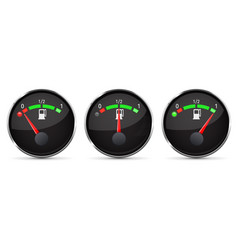 Black fuel gauge empty half full level with vector