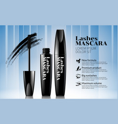 black mascara white line and blue background vector image