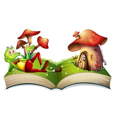 Book of frog and mushroom house vector