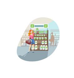 buying cbd product cannabis marijuana shopping vector image