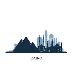 Cairo skyline monochrome silhouette vector