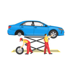 car repair process colorful vector image