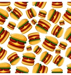 Cartoon cheeseburgers seamless pattern background vector