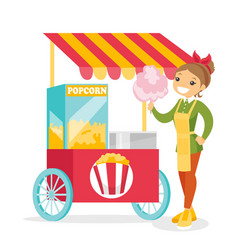 Caucasian white street seller selling cotton candy vector