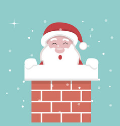 christmas card of santa claus inside the fireplace vector image