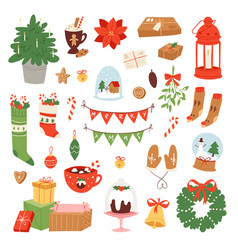 Christmas icons symbols for new year vector
