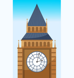 clock tower flat icon big ben british tower vector image