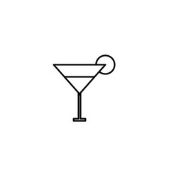 Cocktail in glass line style icon vector