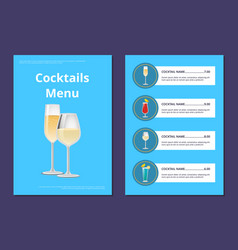 cocktail menu advertisement poster champagne glass vector image