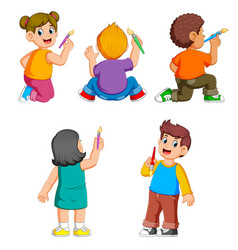 collection children holding brush vector image