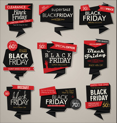 collection of black friday sale discount and vector image