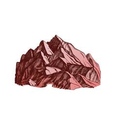 Color peak of mountain crag landscape hand drawn vector