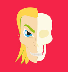 Comic stylized superhero skeleton face print flat vector