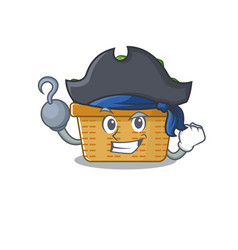 Cool avocado fruit basket in one hand pirate vector