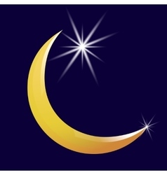 Crescent moon and star icon vector image