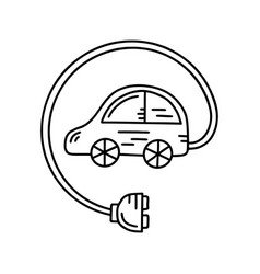 electric car doodle vector image
