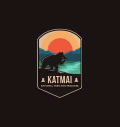 emblem patch logo katmai national park vector image