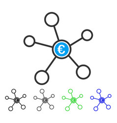 Euro network flat icon vector