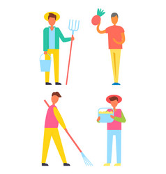 farmers harvesting men set vector image