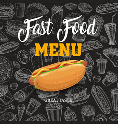 fast food sketch menu with cartoon hot dog vector image