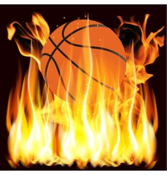flames and basketball vector image