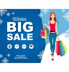 Flat style poster Big sale Shopping woman vector image