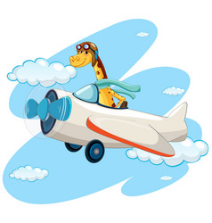 giraffe riding vintage airplane vector image